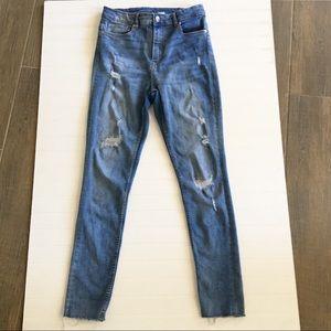 EUC Distressed High Rise Mom Jeans Raw Hem - SZ 12
